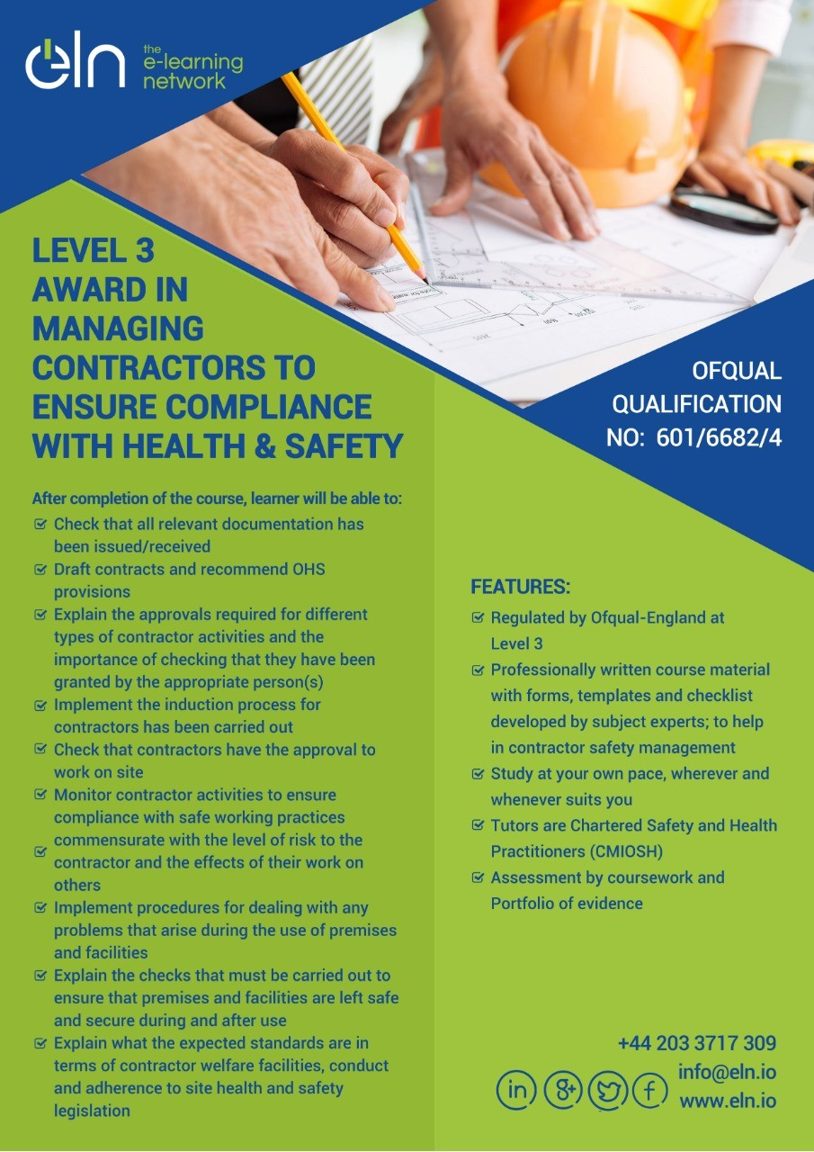 Level 3 Award in Managing Contractors Compliance with Health and Safety