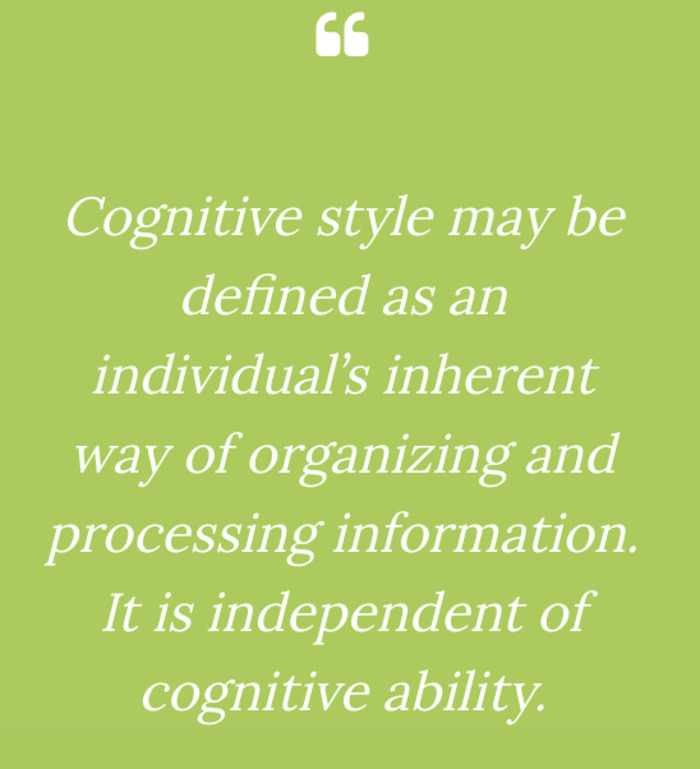 DETERMINING AND QUESTIONING COGNITIVE STYLE (SADLER-SMITH)
