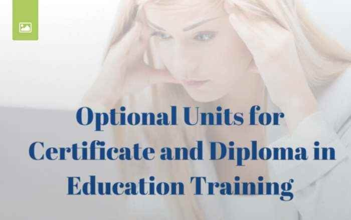 28 OPTIONAL UNITS – CERTIFICATE & DIPLOMA IN EDUCATION AND TRAINING