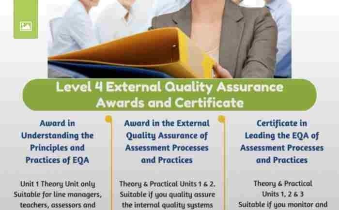 LEVEL 4 EXTERNAL QUALITY ASSURANCE COURSE